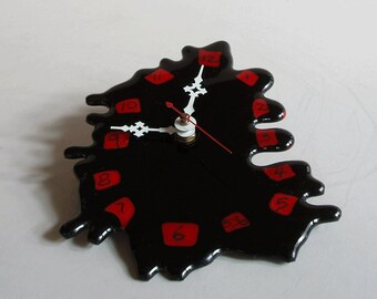 SALE! - fused glass clock - black and red