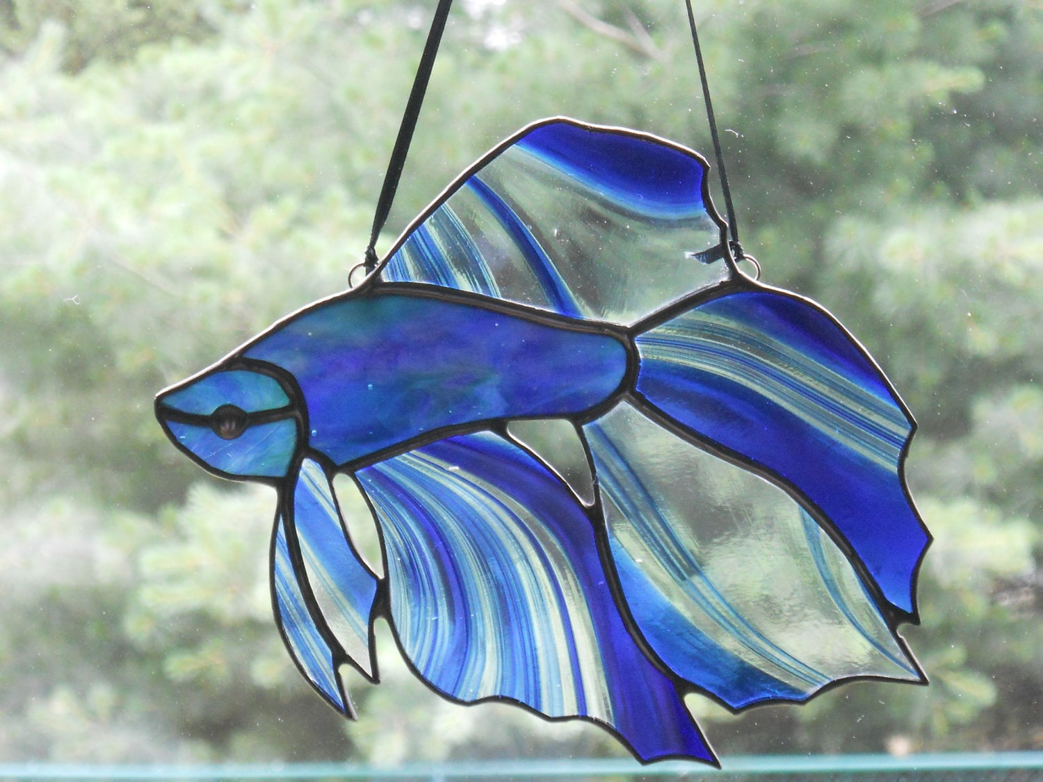 Stunning betta fish stained glass suncatcher for Stained glass fish