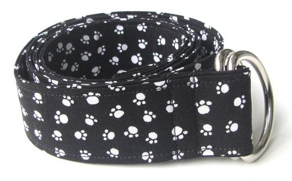 Black and White Paw Print Fabric Belt - Custom Length