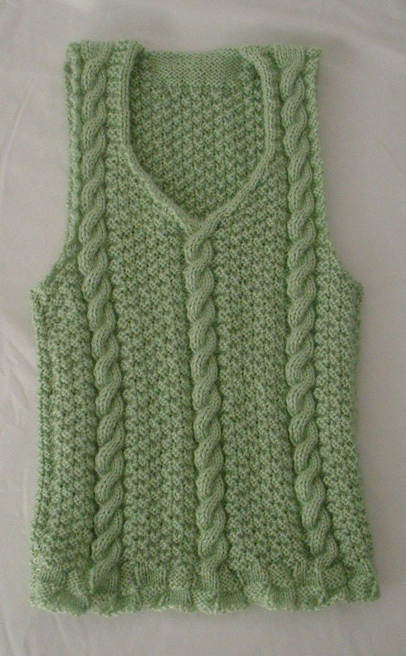 Aran Vest Knitting Pattern : Aran Inspired Sweater Pattern Pullover V-Neck Vest