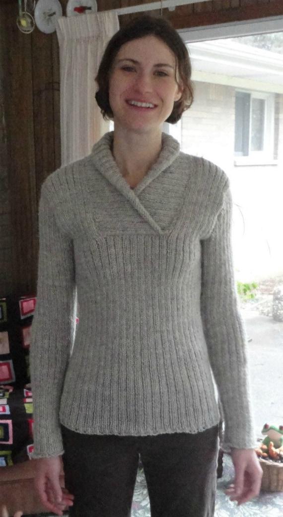 Knitting Pattern Aran Shawl : Items similar to Aran Inspired Womens Shawl Collar Fishermans Pullo...