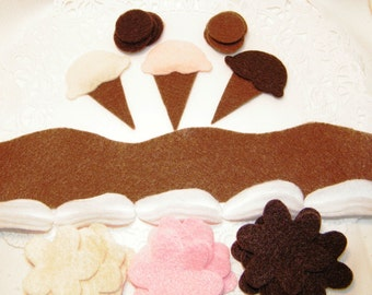 Ice cream felt cakes or Felt board decorations