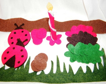 Ladtbug Theme Felt Play Cakes Decorations