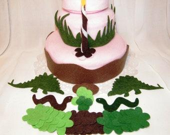 Stegosaurus Theme Felt cake decorations that your child can decorate