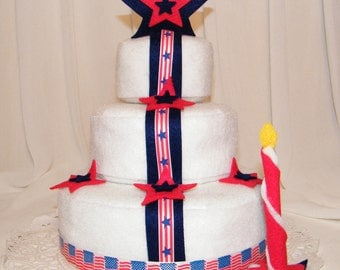 American Flag and Stars Decorating Felt Cake, 4th of July, felt cakes,felt food, felt sweets,