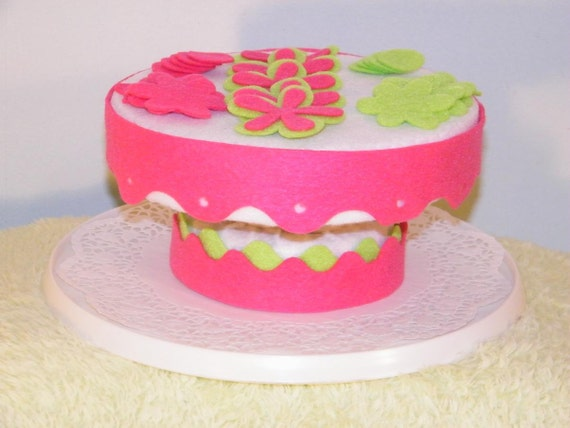 Cake Stand for your toy felt cakes, You can decorate yourself, white felt cake stand, custom cake stand
