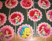 24ct Pink  scalloped Little Mermaid cupcake Toppers / food Picks / sale