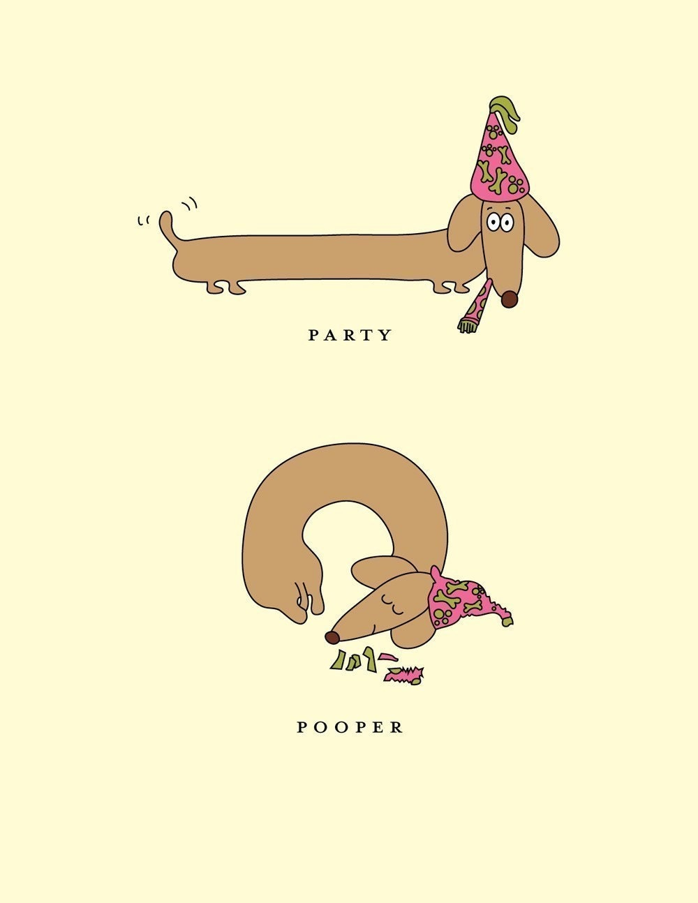 Party Pooper Happy Birthday Dachshund Greeting by ShesSOCreative