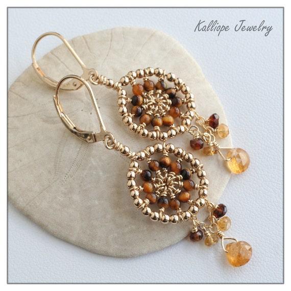 wire wrapped hoop earrings, tigereye tourmaline gemstone earrings, autumn wedding, dream catcher, golden brown butterscotch, wedding jewelry