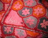 Vintage Vera Scarf Bold and Bright Daisy Print Signed w/ Ladybug