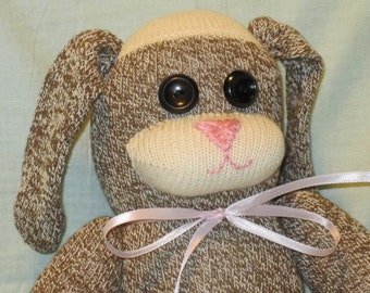Sock Monkey Easter Rabbit Traditional Hand Made Doll