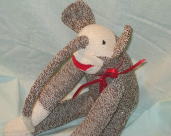 Elephant Sock Monkey Traditional Hand Made Doll