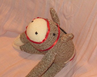 Donkey Horse Sock Monkey Traditional Hand Made Doll