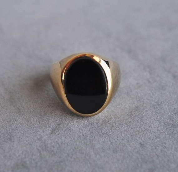 Vintage Men S Onyx And Gold Ring 10k Yellow Size 8 5