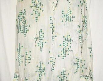 Vintage 70s Poly Knit KMart Man's Disco Shirt Sm Green White Dots