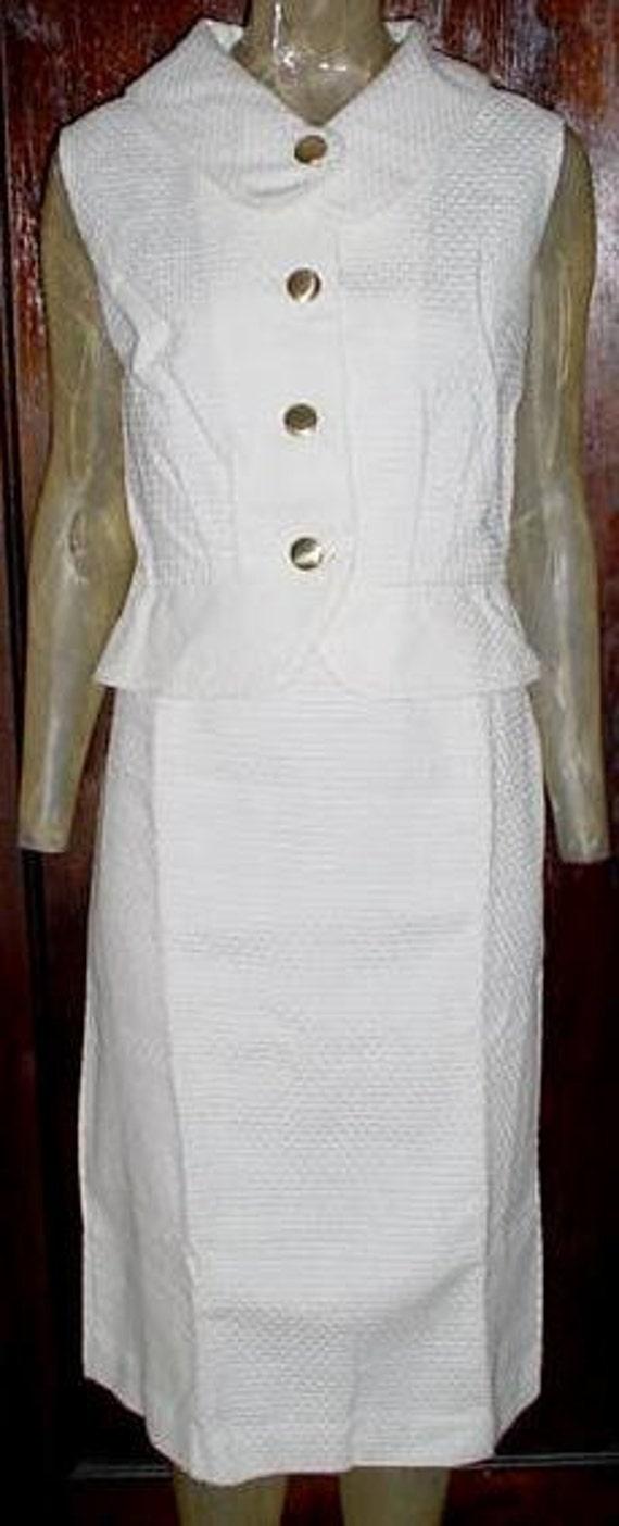 Vintage 50s White Woven 2 pc Womans Summer Suit sz 16