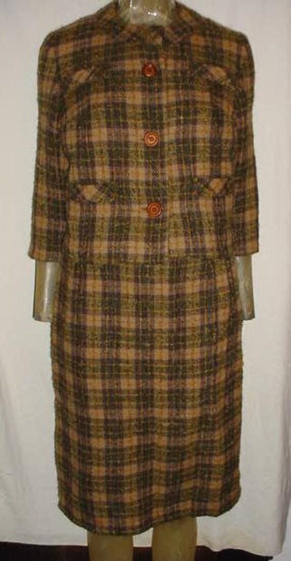 Vintage 50s Olive Plaid Nubby Wool Womans 2 pc Suit sz S