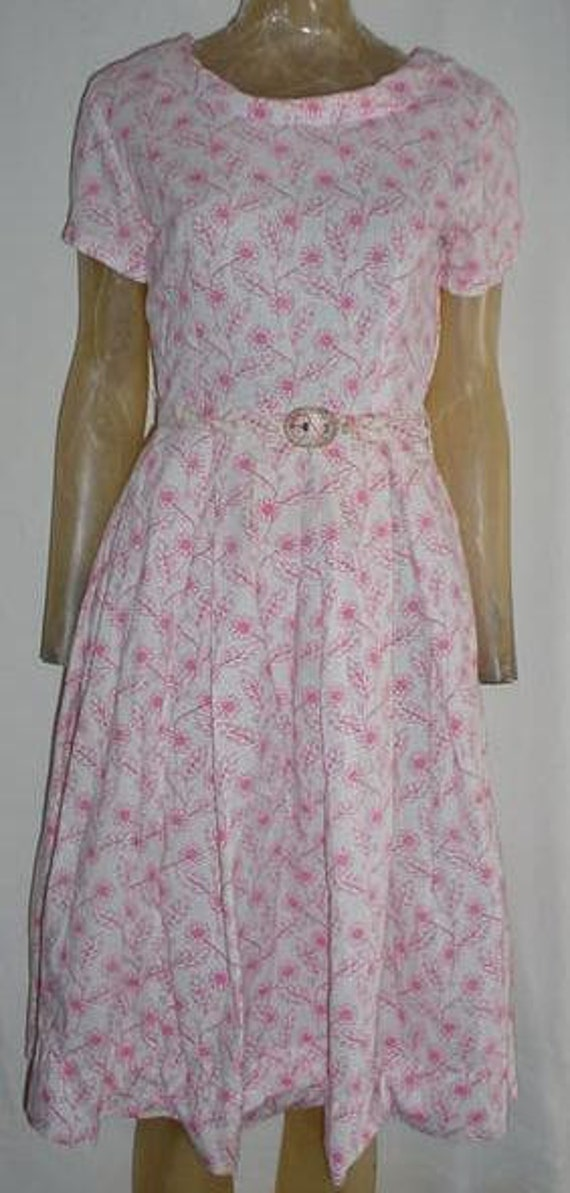 Vintage 50s Pink White Flower Print New Look Dress M