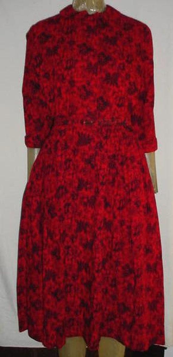 Vintage 50s McMullen Red Black Paisley Dress S
