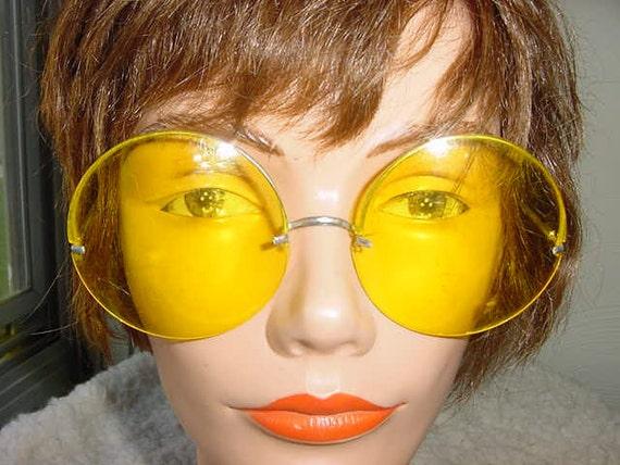 Vintage 60s Round Oversized Yellow Sunglasses