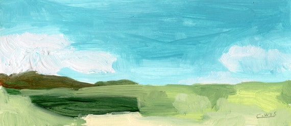 """4 x 9"""" original landscape painting by Chad Wys"""
