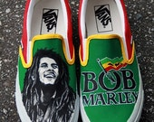 MADE TO ORDER (Any Size) Hand Painted Bob Marley Shoes