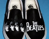 MADE TO ORDER (Any Size) Hand Painted Black and White Beatles Shoes