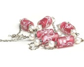 Long Pink Necklace - Vintage Glass Beads, Pearl and Sterling Silver Chain - UK