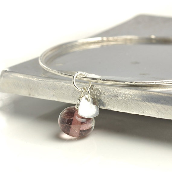 Silver Charm Bangles with Lampwork Glass - UK SRA