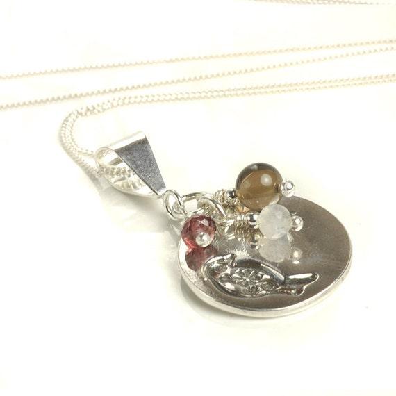 Bird Pendant Necklace - Silver, Rhodolite Garnet, Moonstone and Smoky Quartz - UK