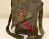 Olive green and red leather embroidered shoulder bag