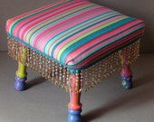 Candy Stripe Funky Footstool-Free Shipping to most US states
