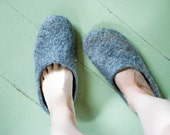 Ecological felt slippers  from Lithuanian local coarsewooled sheep wool