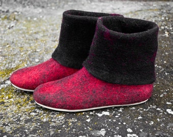 Women wool boots, felted wool slippers, olive, blue, red, mens boots