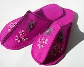 pink hand embroidered felt slipper kit