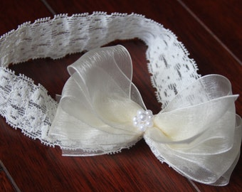 Crochet Lace Baby Girl Headband Infant Hair Bow with Pearls Organza Baby Hair-bow Baptism Christening Baby Headband Sheer Bow Reborn Doll