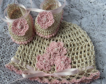 Crocheted Newborn Baby Girl Hat and Booties