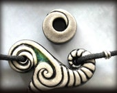 Black and White Wave Necklace with Splash of Blue Green Maelstrom Ooak - MantaWave