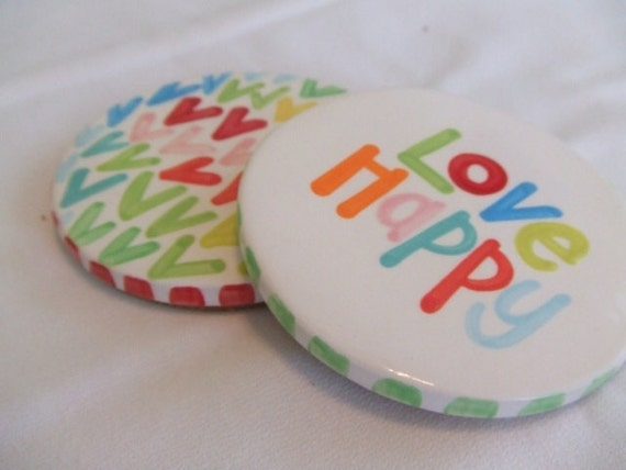 LoVe haPpY set of 2  coasters   SALE