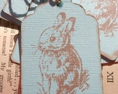 Woodland Bunny on Robin Egg Blue Tag, Set of 6, Hand Stamped