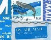 Airmail Labels Whale Postage ACEO OOAK