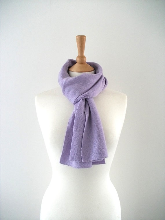 Knitted Cashmere Scarf - Lilac, Lupin, Purple - Soft, Cosy