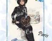 074D.......DIGITAL DOWNLOAD....Bonjour Lady in Black  OOAK