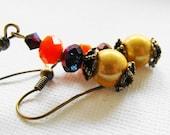 Dangle Earrings, Czech Glass, Fashion  Earrings, Yellow, Purple, Orange, Antiqued, Vintage Style