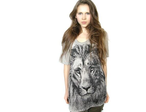 Lion print shirt slouchy tunic One Size