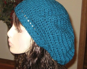 Teal Slouchy Beret Dread Tam Hat