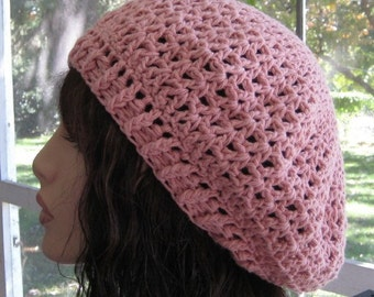 Cotton Prairie Rose Slouchy Beret Dread Tam