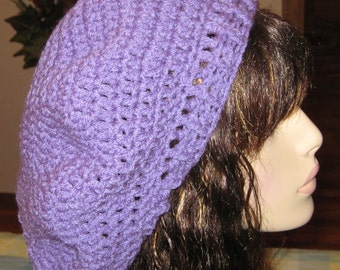Lavender Slouchy Beret Dread Tam