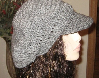 Heather Grey Billed Dread Tam Newsboy Hat