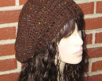 Brown Fleck Dread Slouchy Beret Tam Crochet Hat